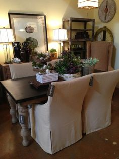 Lee slipcovered dining chairs @bungalow Scottsdale, AZ