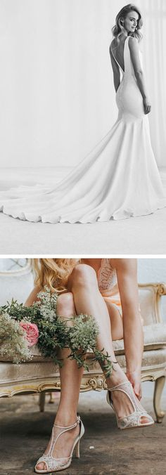 Pronovias classic, simple, elegant with a bare back, sleeveless and gorgeous long train and figure hugging silhouette is perfect when paired with Bella Belle comfortable t-strap floral beaded ivory wedding shoe, Paloma. The wedding heel has extra padding for all day comfort, perfect for a feminine and romantic bride. Also available in blush pink. Photography: Sarah Hazelwood #weddingshoes