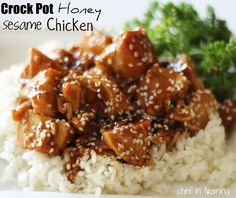 Crock Pot Honey Sesame Chicken!  This recipe is AMAZING and SO easy!  One your whole family will LOVE!