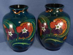 Pair of Decoro Baluster Vases with Floral Decoration by Canning Pottery