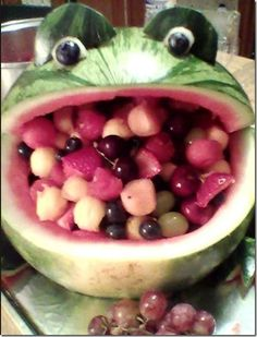 watermelon fruit basket | Watermelon Frog Fruit Salad Bowl. DIY [8 Photos] : theChobble