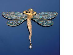 A gold, plique-à-jour enamel, opal and pearl dragonfly brooch/pendant, by Masriera y Carreras,