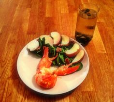 Patriotic meal of Red (lobster), White (white peach salad), and Blue (blueberry cocktail)