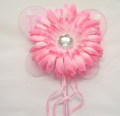 Pink GERBERA FLOWER FAIRY WAND WITH RIBBONS