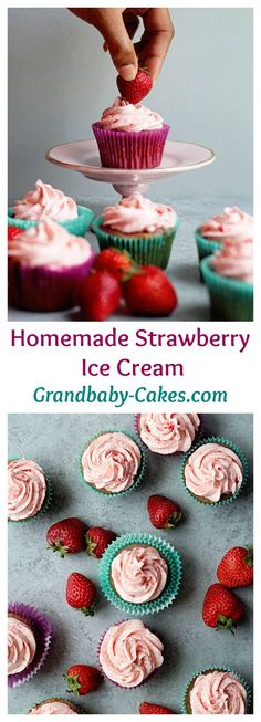 Homemade Strawberry Cupcakes made completely scratch with strawberry puree and NO CAKE MIX!  | Grandbaby-Cakes.com