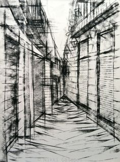 City Street in Europe Original Charcoal drawing on by NikkiGalapon, $180.00