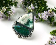 Where Winter Meets Paradise - Kinoite Druze and Chrysocolla Malachite Sterling Silver Ring