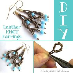How to make leather earrings - DIY leather knot earring tutorial video by JewelryTutorialHQ.com