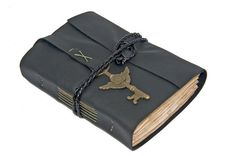 Black Leather Journal with Tea Stained Paper and by boundbyhand, $39.00
