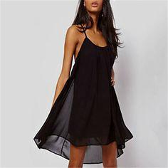 Sun-shine Women's Sexy/Party Wide Neck Sleeveless Dresses (Chiffon) – USD $ 9.99