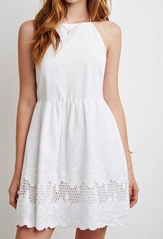 e1f7086a8381 Embroidered Crisscross Babydoll Dress
