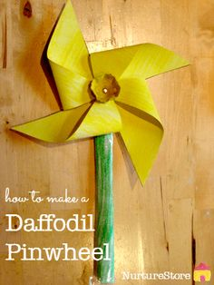 Such a pretty daffodil craft :: make a flower pinwheel - Daffodil day ideas - Daffodil Craft, Daffodil Day, Spring Activities, Craft Activities, Nursery Activities, Activity Ideas, Spring Crafts For Kids, Art For Kids, Pinwheel Craft