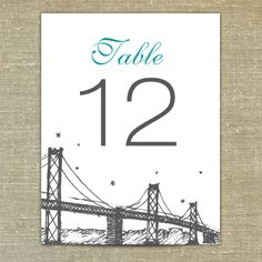 San Francisco Golden Gate Bridge table numbers