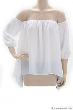 Elastic Off the Shoulder Unbalanced Peasant Top-White
