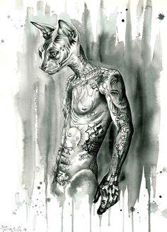 Hipster Sphynx by Psyca-art.deviantart.com on @DeviantArt