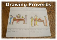 A fun way to gain wisdom is drawing Proverbs. These illustrations can be really fun, since many Proverbs contain pithy statements that have two opposites Bible Lessons For Kids, Bible For Kids, Proverbs For Kids, Understanding The Bible, Bible Activities, Bible Teachings, Sunday School Lessons, Kids Church, Help Kids