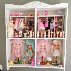 I love this shelf idea for Blythe and like-sized dolls! Blythe Dolls, Girl Dolls, Baby Dolls, Doll Storage, Clothes Storage, Diy Clothes, Toys For Girls, Kids Toys, Doll Display