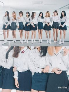 White shirt with navy skirt never go out of style.