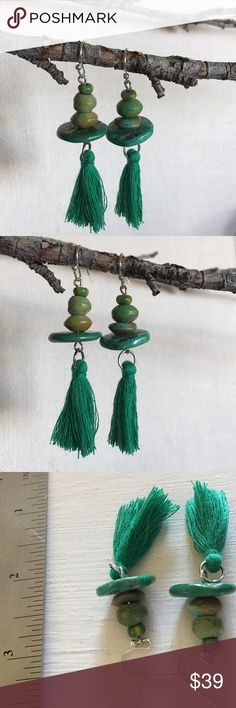 Gorgeous green turquoise sANta Fe tassels earrings Gorgeous green turquoise sANta Fe tassels earrings on sterling silver earwires Jolori Jewelry Earrings