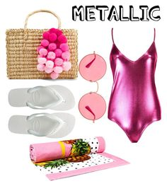 """metallic"" by geopaganeli on Polyvore featuring Havaianas, Nannacay, Ray-Ban and Dolce&Gabbana"