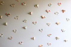 Folded paper heart wall DIY
