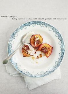 honey roasted peaches w/ almond praline and mascarpone