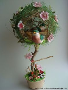 Holiday decorations easter center pieces Ideas for 2019 Easter Crafts, Fall Crafts, Diy And Crafts, Topiary Centerpieces, Diy Y Manualidades, How To Preserve Flowers, Paperclay, Vintage Easter, Flower Crafts