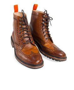 Superdry x Joseph Cheaney & Sons :: Brogue Boot Mens Brogue Boots, Tan Brogues, Mens Shoes Boots, Leather Shoes, Men's Shoes, Mens Smart Shoes, Fashion Boots, Mens Fashion, Shabby Chic