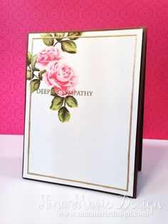"""Altenew: """"Vintage Roses"""", distress, details added with water brush and derwent colored pencil, gold embossing, scored frame, gold WOS, Nina Marie designs"""
