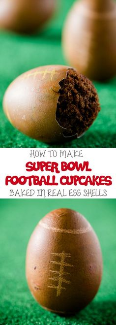 If you're looking for superbowl party food ideas, this Superbowl Football cupcakes are baked in real egg shells! Crack open an egg shell to reveal a cupcake inside would be such rare food surprise! For more simple baking desserts recipes and homemade sweet treats, check us out at #cupcakeproject. #cupcakerecipe #superbowl #recipeoftheday #sweettooth