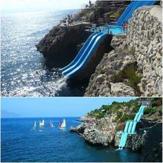 Slides into the pool and then into the ocean in Sicily, Italy. This may be worth adding to your itinerary when you go. The world's coolest water slide, Sicily, Italy   * Join us in our meandering with food and travel at: Facebook.com/TipsTripsandTastyTidbits *
