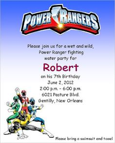 Power Ranger Party Spectacular - Power rangers birthday invitation template