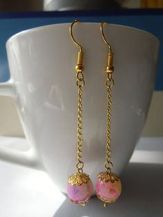 Colorful beads and chain simple cute dangling earrings