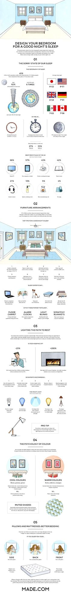 You know what totally sucks? Getting a crappy night of sleep. Luckily, this useful infographic by MADE is filled with life hacks that will vastly improve your bedtime routine. Take five minutes of your day to read through these helpful tips, and your life will change for the better. get better sleep, sleeping tips