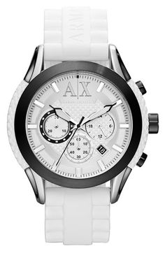 eabbd3a4e38048 AX Armani Exchange Round Silicone Strap Watch available at  Nordstrom  Armani Watches For Men