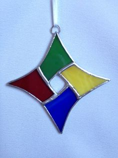 Stained Glass Christmas Ornament: Primary Colors Diamond by Mama Agee, $5.00