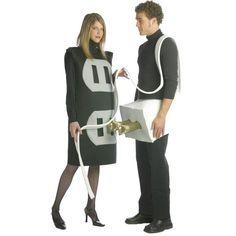 Disfraz para pareja de enchufe y clavija unisex