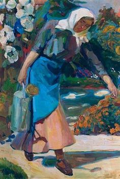 In the garden Artist: Nikolaos Lytras Style: Expressionism Genre: genre painting Art And Illustration, Illustrations, Artist Painting, Figure Painting, Greek Paintings, Art Through The Ages, Greek Art, Art Database, Conceptual Art