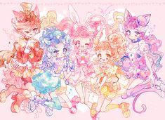 Chocolat/Akira, Gelato/Aoi, Whip/Ichika, Custard/Himari, and Macaron/Yukari