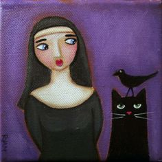 Curious Nun And Cat Painting, Ryan Conners Black Cat Art, Black Cats, Kliban Cat, Ryan Conner, Halloween Ii, Pictures To Paint, Painting Pictures, Cat Drawing, Cute Cats