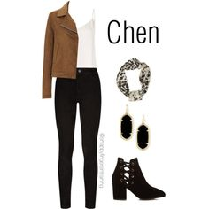 Exo - Chen Power by isabella-pesina on Polyvore featuring L'Agence, Uniqlo, Paige Denim, Hudson, Kendra Scott, Riviera, kpop, EXO, power and chen