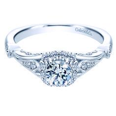 Preset Vintage 14k White Gold Round Halo Diamond Engagement Ring. $2,800