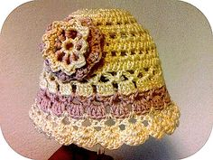 Light Summer Hat with a Flower pattern by Ivana L ~ free pattern