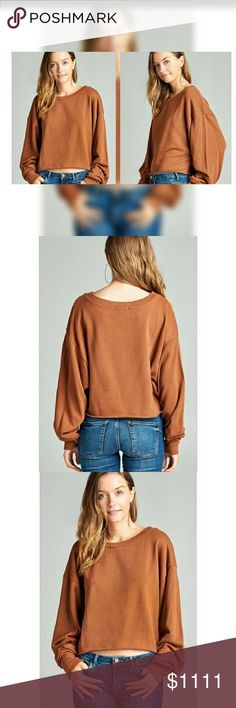 ❣Coming soon❣Mustard French Terry Crop Top❣ French Terry Crop top, long sleeve with dropped shoulder style 70% Cotton, 30% Polyester  Color: Mustard Tops Crop Tops