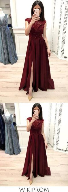 A Line Burgundy Cap Sleeve Prom Dresses Long Beading Slit Evening Party Dresses WK897, This dress could be custom made, there are no extra cost to do custom size and color