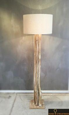 Houten vloerlamp 2 bruin incl. Kap | Houten Lampen