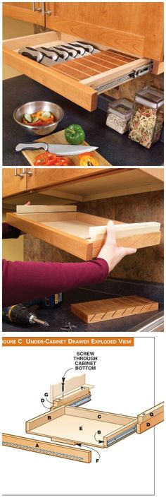 3 Kitchen Storage Projects Squeeze more space from your cabinets with customized roll-outs. by Eric Smith and David Radke It's time to increase the storage space in your kitchen by accessing its u Kitchen Redo, Kitchen Pantry, Kitchen Storage, Kitchen Ideas, Diy Home, Home Decor, Popular Woodworking, Woodworking Shop, Home Projects