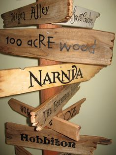 Storybook signposts! Perfect for a kid's room! love it if there was nothing about Harry Potter on it. :P