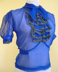 1930s ruffled chiffon silk blouse, absolutely GORGEOUS in electric blue