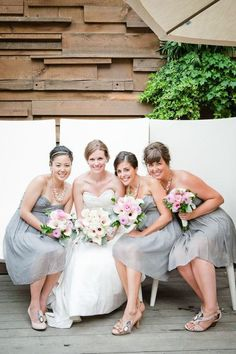 @Natalie Jost Marie Perfect soft grey bridesmaid dresses and pink bouquets